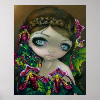 Dragon Orchid fairy ART PRINT dragonling big eye