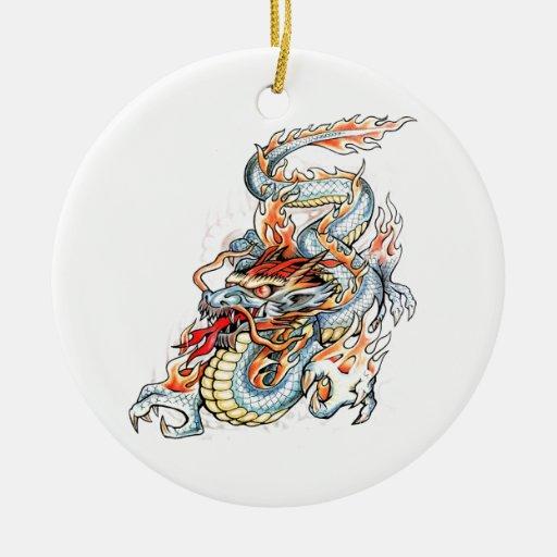 Dragón oriental ardiente fresco adorno navideño redondo de cerámica