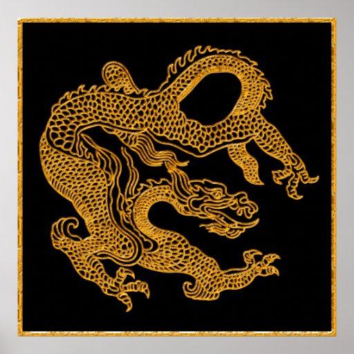 Dragón oriental de oro 01 poster