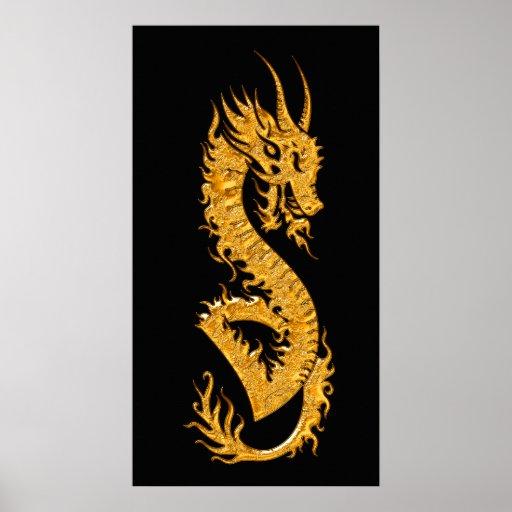 Dragón oriental de oro 02 (dejado) posters