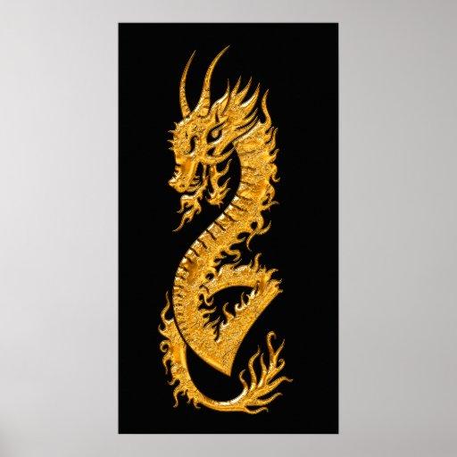 Dragón oriental de oro 02 (derecho) poster