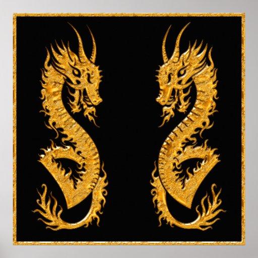 Dragón oriental de oro 02 (pares) poster