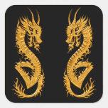 Dragón oriental de oro 02 pegatina cuadradas