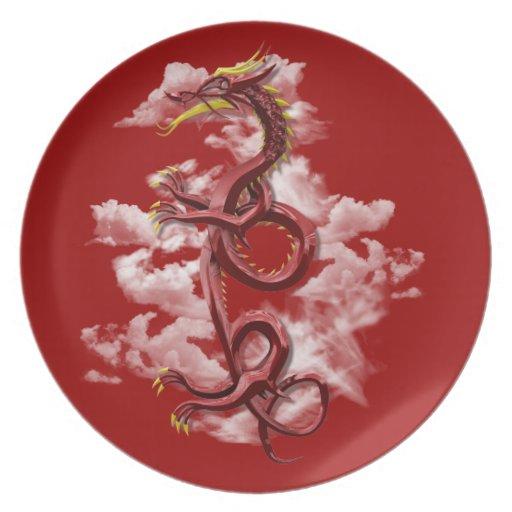 Dragón oriental platos de comidas