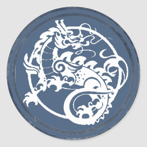 Dragón ornamental pegatina redonda