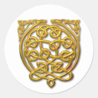 dragón-oro 2 pegatina redonda