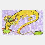 dragón, oro y púrpura chinos rectangular pegatina