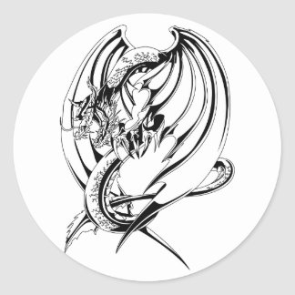 Dragon Outline Classic Round Sticker