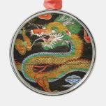 Dragon painting on the Korean ceiling of Sungnyemu Round Metal Christmas Ornament