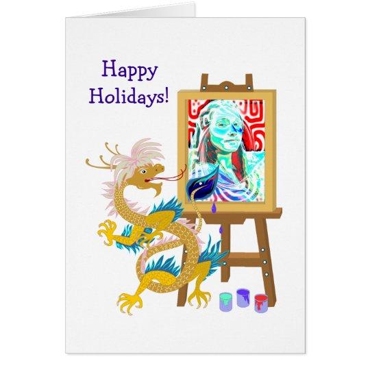Dragon paints your portrait template Card