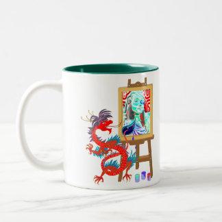 Dragon paints your portrait template Mug