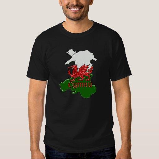 Dragón País de Gales grabado en relieve camiseta Remeras