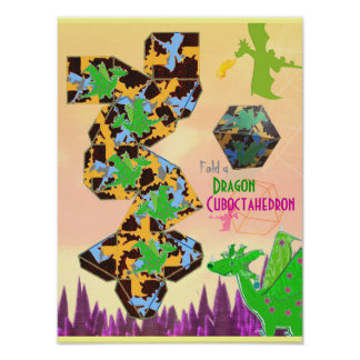 Dragon Pattern Cuboctahedron Folding Poster