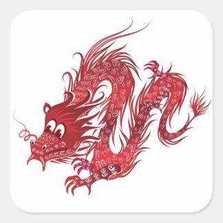 dragón pegatina cuadrada