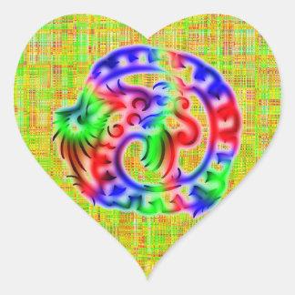 Dragón Pegatina En Forma De Corazón