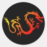 Dragón Pegatina Redonda