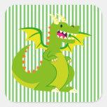 Dragón Pegatinas Cuadradas Personalizadas