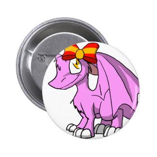 Dragón peludo de Bubblegum SD con el arco español Pin Redondo 5 Cm
