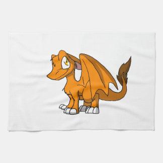 Dragón peludo del SD del naranja Toalla De Cocina