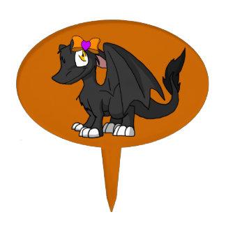 Dragón peludo negro del SD con el corazón Hairbow Figuras Para Tartas
