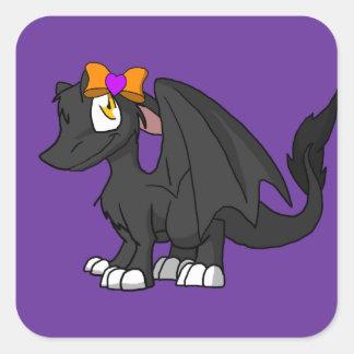 Dragón peludo negro del SD con el corazón Hairbow Pegatina Cuadrada