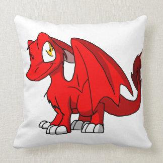Dragón peludo rojo del SD Almohada