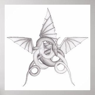 Dragon Pentagram Poster