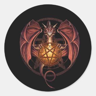Dragon pentagram classic round sticker
