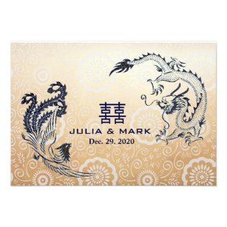 Dragón-Phoenix moderna RSVP que se casa chino Invitaciones Personales