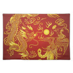 Dragon Phoenix Red Gold Chinese Wedding Placemats