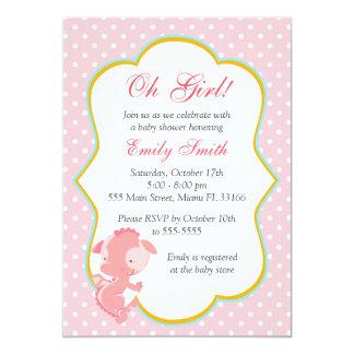 Dragon Pink Polka Dots Baby Girl Shower Invite