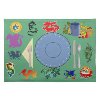Dragon place mat with correct placement of stuff
