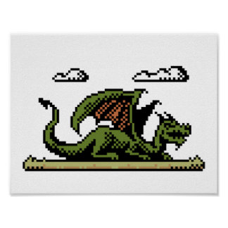 Dragon Platform 8-Bit Pixel Art Poster