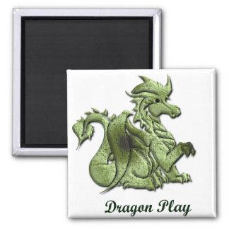 Dragon Play Square Magnet