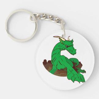 Dragon.png verde Foreshortened Llavero Redondo Acrílico A Doble Cara
