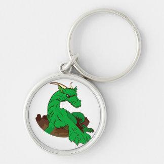 Dragon.png verde Foreshortened Llavero Redondo Plateado