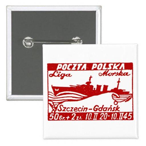 Dragón polaco del barco de la Armada 1945 Pin Cuadrado