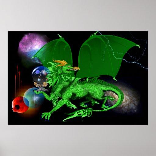 Dragón-Posters verdes del universo Póster