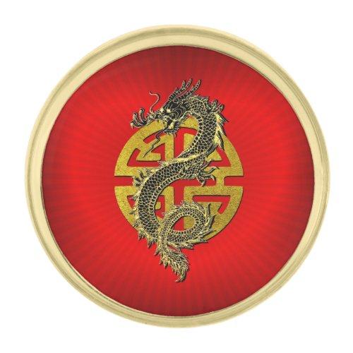 Dragon Prosperity Heart Gold Finish Lapel Pin