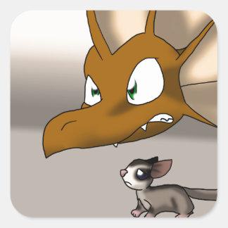 Dragon Protecting Sugar Glider Square Sticker