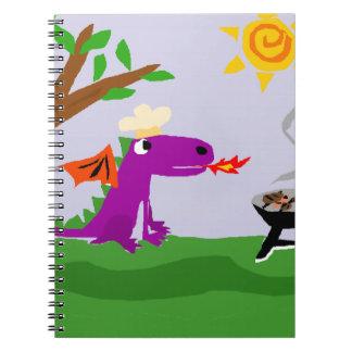 Dragón púrpura divertido Grill Master Libro De Apuntes Con Espiral