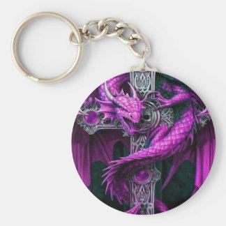 Dragón púrpura llavero redondo tipo pin