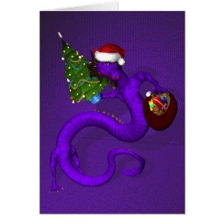 Dragón púrpura maravilloso Papá Noel Tarjeta De Felicitación