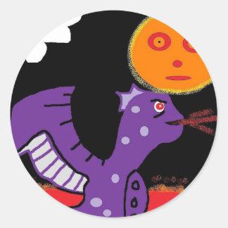 dragón púrpura pegatinas redondas