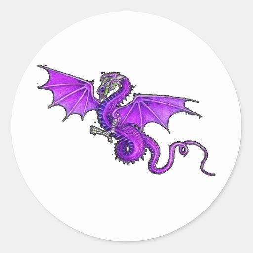 Dragón púrpura etiquetas redondas