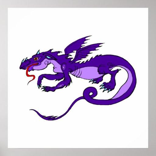 Dragón púrpura que vuela póster