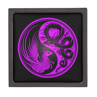 Dragón púrpura y negro Phoenix Yin Yang Cajas De Recuerdo De Calidad