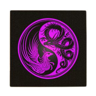 Dragón púrpura y negro Phoenix Yin Yang