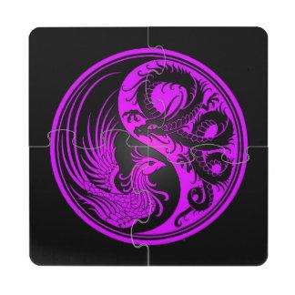 Dragón púrpura y negro Phoenix Yin Yang Posavasos De Puzzle