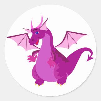 Dragón púrpura y rosado amistoso pegatinas redondas